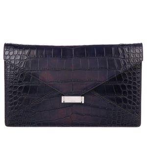 Bespoke Céline Crocodile Skin Diamond Clutch Navy